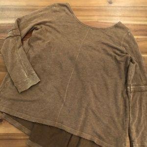 Free People Brown Oversized Distressed Sweatshirt